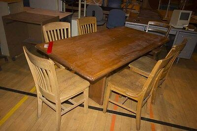 6' Conference table and (6) Real Wood Chairs