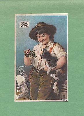 BOY SHOWS CRAYFISH TO DOG, CAT On Cute PYLE'S PEARLINE SOAP Victorian Trade Card