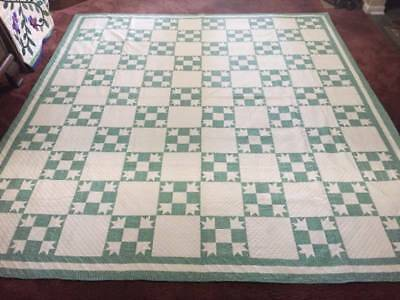 "WOW! Spectacular ""Goose Tracks"" 1920's Antique Quilt Dense with Quilting"