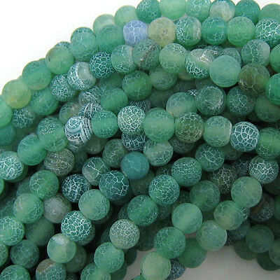 """6mm frost fire agate round beads 15"""" strand green S2"""