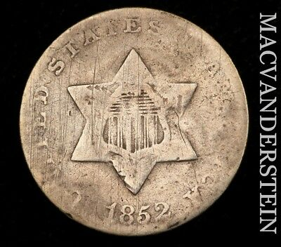 1852 Three Cent Silver - Scarce!!  Better Date!!  #u5172