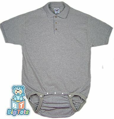 *Big Tots*  by MsL POLO  WEAR2WORK gray OneSuit Bodysuit Adult Baby .+