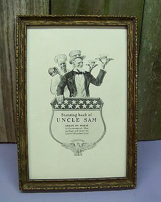 Antique 1918 UNCLE SAM Cream of Wheat Advertising Print Framed Ad