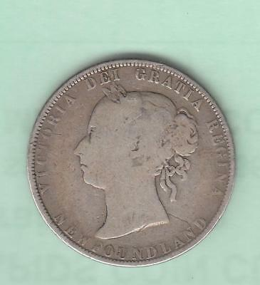 1899 Newfoundland Canada 50 cents, silver w/ Queen Victoria, Low Mintage, wide 9