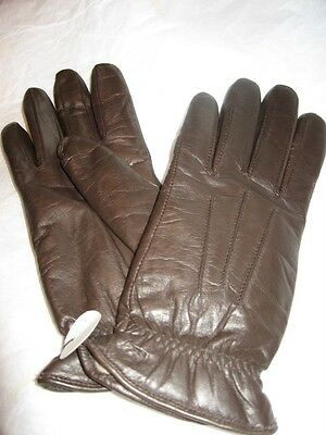 Ladies Isotoner Wonderfit Brown Leather Gloves,S/M-SEE DESCRIPTION FOR PICS