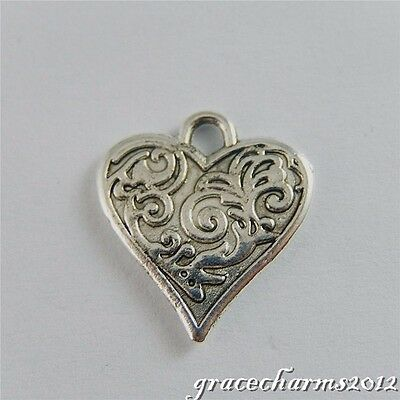 30x Vintage Silver Alloy Carving Heart Pendants Findings Charms Crafts 50659