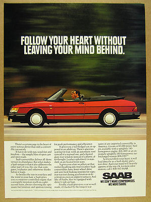1992 Saab 900 Convertible red car photo vintage print Ad