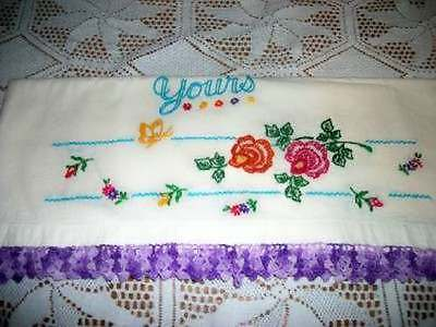 Vintage Chic Embroidered Floral Girls Pillowcase Crochet Lace Shabby Cottage