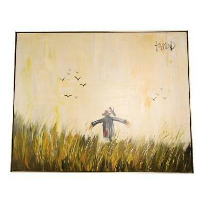 Vintage SCARECROW IMPRESSIONIST PAINTING Oil Canvas framed wall art mid century