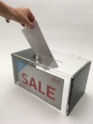Large Acrylic Donation and Ballot Box With Lock- Clear and Black and Sign Holder