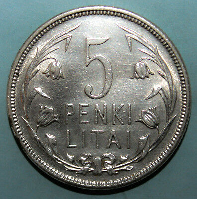 Lithuania 5 Litai 1925 Extremely Fine Silver Coin - National Arms