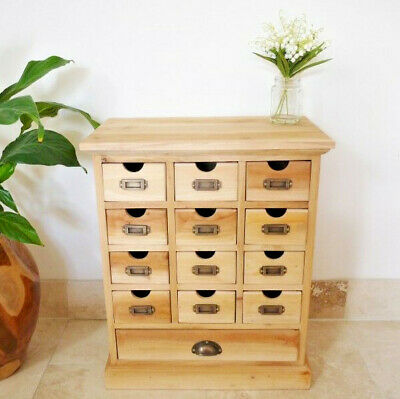 Solid Mahogany Small 13 Drawer Rustic Cabinet Unfinished Storage Organiser Chest