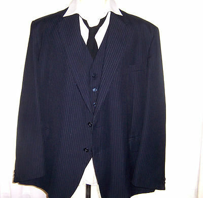 VINTAGE 1960's MENS 3 PIECE BESPOKE TAILORED PINSTRIPE SUIT MOD XXL 52 CHEST