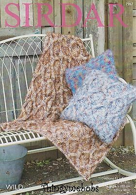 Sirdar 7967 Wild Cushion Covers/throw Original Knitting Pattern