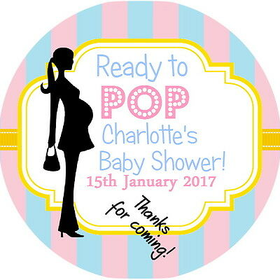 24 Personalised Pastel Ready To Pop  Gloss Baby Shower Stickers/ Labels