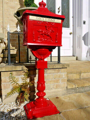 Red Pedestal Aluminium Mail Box Vintage Style Heavy Duty Robust Letters Post New
