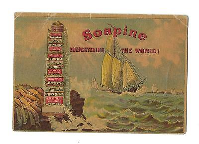 Old Trade Card Soapine Kendall Mfg Providence Soap Boxes Arranged As Lighthouse
