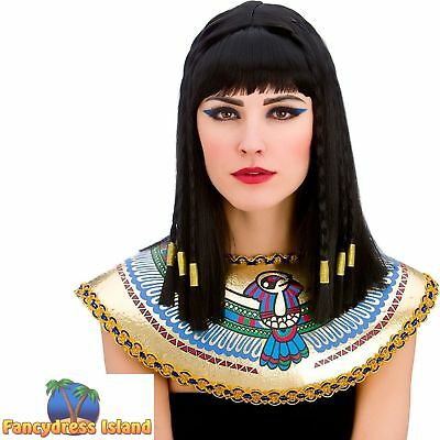 BLACK CLEOPATRA EGYPTIAN PRINCESS WIG womens ladies fancy dress costume