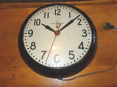 """VNTG Industrial General Electric School Wall Clock Dot Bubble Glass AB-1F412 15"""""""