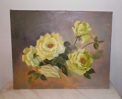 "VINTAGE YELLOW ROSES OIL PAINTING ON CANVAS SIGNED NOT FRAMED 20"" x 16"""
