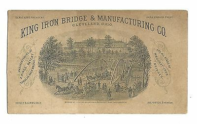 Old Trade Card King Iron Bridge & Manufacturing Cleveland OH Arch Fairmount Park