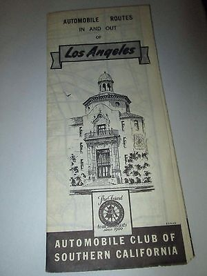 Automobile Club of Southern California Vintage Map Routes In and Out Los Angeles