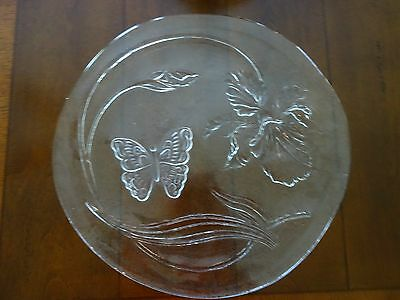 """Vintage MIB LE SMITH 13"""" Crystal Party Plate Platter BUTTERFLY Glass in BOX"""