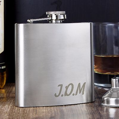 Personalised Engraved Hip flask - Hipflask 6oz with Initials - Weddings, Xmas