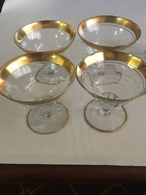 "HTF-TIFFIN SET OF  VALENCIA Footed champagne GLASSES GOLD DESIGN  4"" H-CLEAR/GLD"
