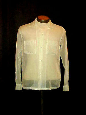 VTG.1950'S MEN'S SHEER WHITE NYLON BUTTON FRONT SHIRT, by BLOCK Sz M, ROCKABILLY