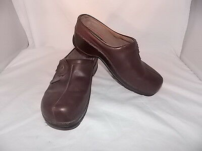 Klogs Brown Leather Floral Women's Size 9M VERY GOOD CONDITION