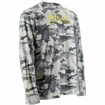 Huk Fishing Men's Grey Camo Performance Long-sleeved Shirt - Size Small