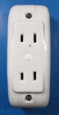 Vintage White Porcelain Electrical Outlet Receptacle Box Knox 8400
