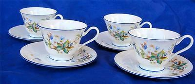 Oxford Bone China Lenox 4 Cups & Saucers Brandywine White Blue Butterfly Lot A