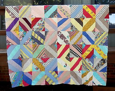 Vintage String-Pieced Quilt Top - Great Cotton Fabrics, Great Condition