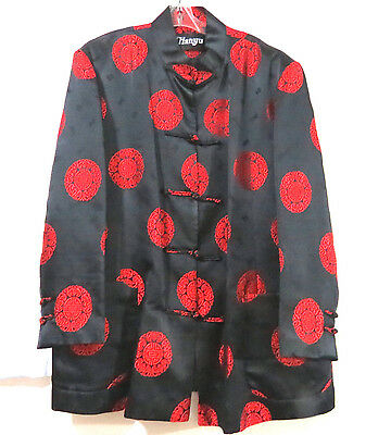 Chinese Jacket Brocade Red and Black Longevity Mens M to L