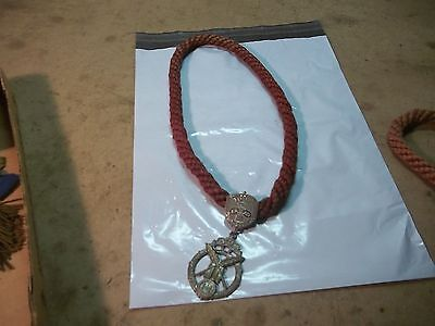 Lot B Old Oddfellows Lodge Ceremonial Necklace Medal with Rope