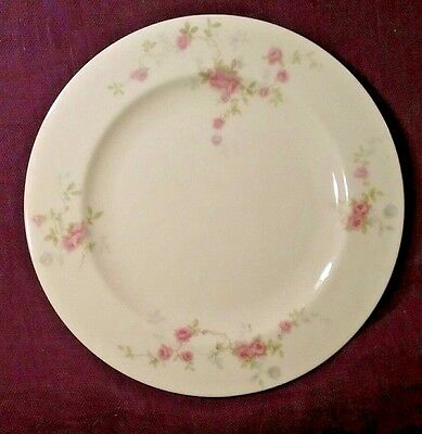 """8 Haviland New York China TOURAINE 7 1/2"""" Salad Plates Pink Roses EXCELLENT"""