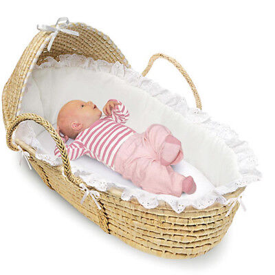 Badger Basket -Natural Moses Basket with Hood and White Bedding storing stuffed