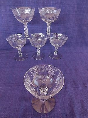 Fostoria Meadow Rose LOW SHERBET Stemware 1 of 5 available Etched