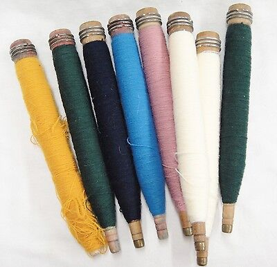 Antique Wooden Spools Textile Bobbins Lot of 8 with Colored Thread Yarn 10""