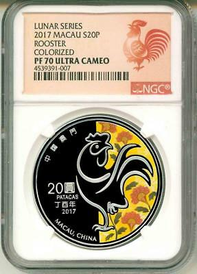 2017 S20P Macau Lunar Series Rooster Colorized NGC PF70 Ultra Cameo