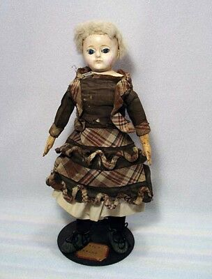 Antique Primitive Paper Mache Doll Glass Eyes Leather Hands**as Is**wow!!