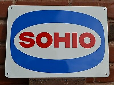 SOHIO Metal Gas Station Pump Sign Standard Oil Ohio logo Boron Ad  Mechanic 7day