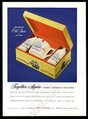 1946 Old Spice cologne talc shaving soap box set photo vintage print ad