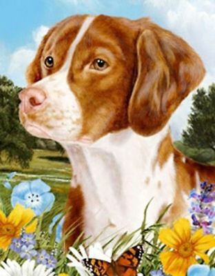 Beautiful BRITTANY SPANIEL Summer Flowers Theme Garden Flag