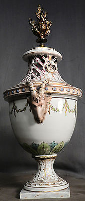 Antique Bronze Porcelain Classical French Porcelain Urn Potpourri Incense Burner
