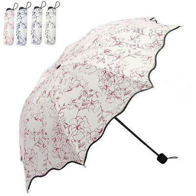 50+Anti UV Sun Rain Protection Windproof Flower Lace 3 Fold Umbrella Parasols TY