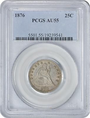 1876 Liberty Seated Quarter AU55 PCGS Almost Uncirculated 55