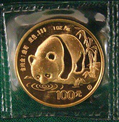 1987-Y 1 oz. Gold Chinese Panda Coin - Sealed In Plastic